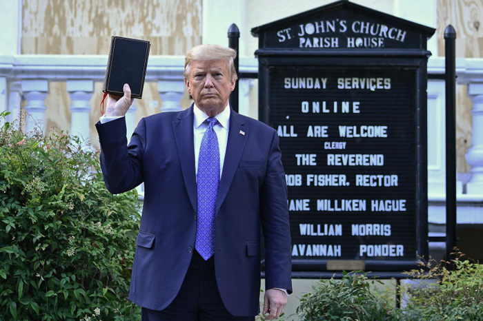 Defying His Enemies, President Trump Walks To Burned Church And Lifts Up The King James Bible, Driving The Enemies Of God Into Apoplectic Frenzy