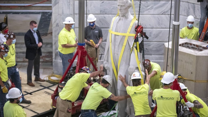 Removal of Jefferson Davis statue in Kentucky reveals surprise bourbon discovery
